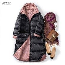 FTLZZ Ultra léger 90% blanc canard doudoune femmes mince vers le bas Long manteau hiver Parkas femme chaud Parkas neige Outwear