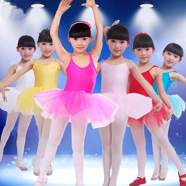 Nuevo vestido de Ballet para Niñas Ropa de baile para niñas trajes de Ballet para niñas bailar leotardo chica Ropa de baile 6 colores