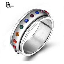 Acier inoxydable CZ arc-en-ciel cristal cercle rond Gay lesbien mariage Engagement promesse bande fierté anneau confort ajustement