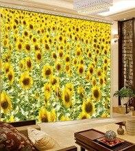 Cortinas de lujo personalizadas 3d, cortinas de girasol para ventana, cortinas para sala de estar, lujosas cortinas para ventana de cocina