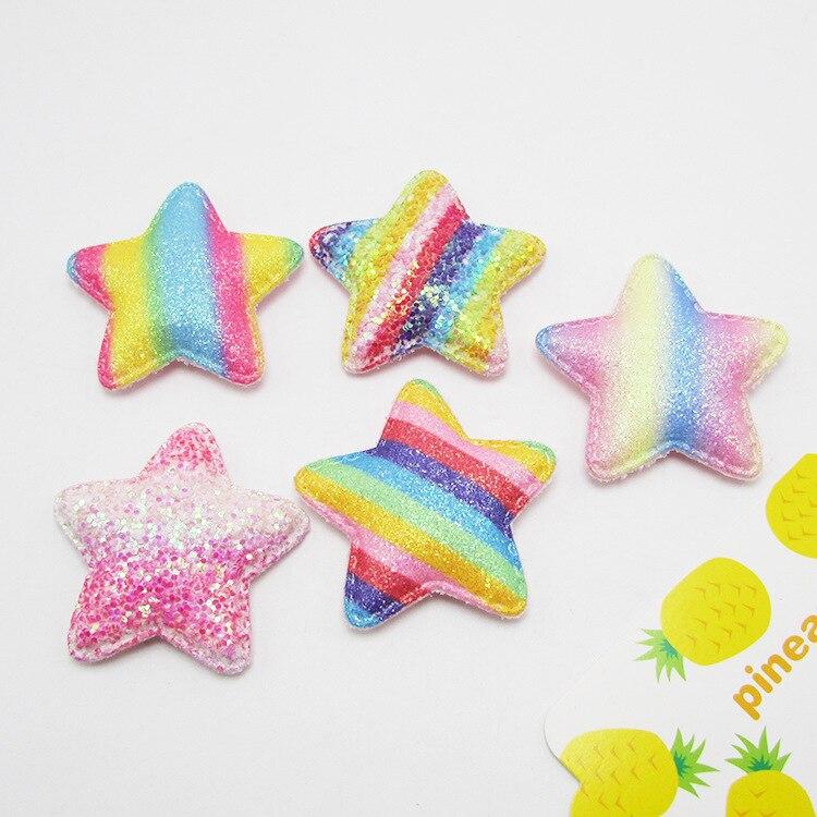 20 pçs/lote 4.8 cm Íris Estrela Acolchoado Apliques Artesanais DIY Acessórios Para o Cabelo Crianças Para A Roupa de Costura Suprimentos DIY Craft