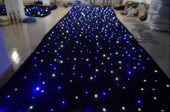 3 piezas/lote, color mezclado RGB 2x4 M LED estrella cortina 64 piezas SMD alto-brillante escenario paño ignífugo Velour + paño de fondo del controlador