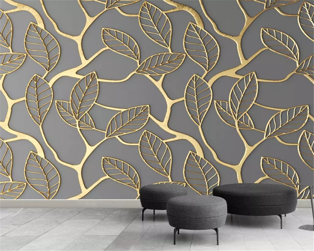 beibehang Custom size Golden fashion decorative painting wallpaper stereo leaf TV background papel de parede wall paper behang beibehang formaldehyde free classic wall paper embossed lotus vintage watercolor lotus leaf porch decorative painting wallpaper