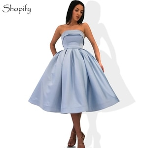 Gorgeous A-line Boat Neck Puffy Pleat Light Blue Short Arabic Style Oman Formal Evening Dresses 2020 Gowns