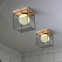 2019 New Nordic Indoor Wood Led Ceiling Light Fixture Luminaire Modern Iron Net Bedroom Corridor Hallway Mount Lamp Aisle Decor
