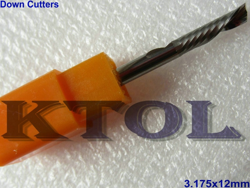 Fresas de carburo espiral de una sola flauta recortada de 3.175x12mm, brocas de herramienta de mano izquierda para cortar fácilmente PVC, panel de plástico de aluminio