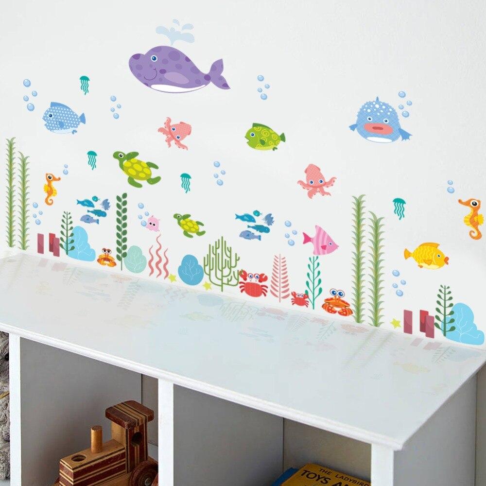 Unterwasser Meer Fisch Blasen Schildkröte Wand Kunst Dekorative Bad Kinder Schlafzimmer Decor Poster Karton Wand Aufkleber Aufkleber