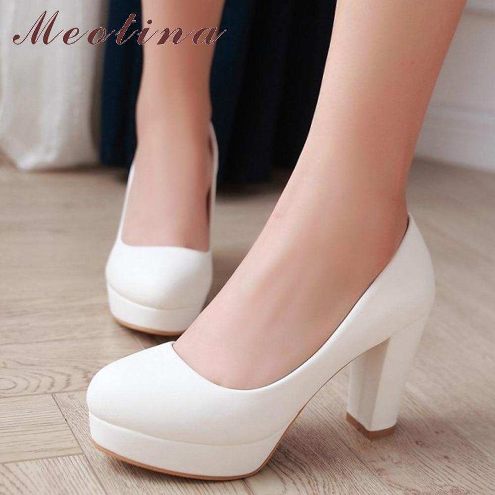 Meotina النساء أحذية عالية الكعب منصة مضخات سميكة عالية الكعب زائد حجم 34-43 السببية الخريف أحذية بيج الأبيض الوردي Zapatos موهير