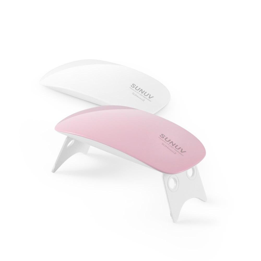 Sunmini 6 w led uv prego secador de cura lâmpada portátil para viagens led uv gel unha polonês ferramenta manicure pedicure lâmpadas branco