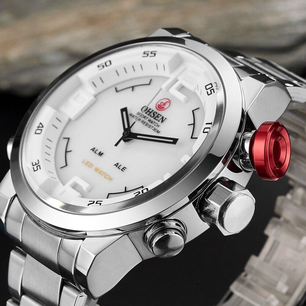 2016 Nueva Marca OHSEN cuarzo digital de los hombres de negocios relojes blanco Correa totalmente de acero LED de moda militar vestido Casual reloj de regalo