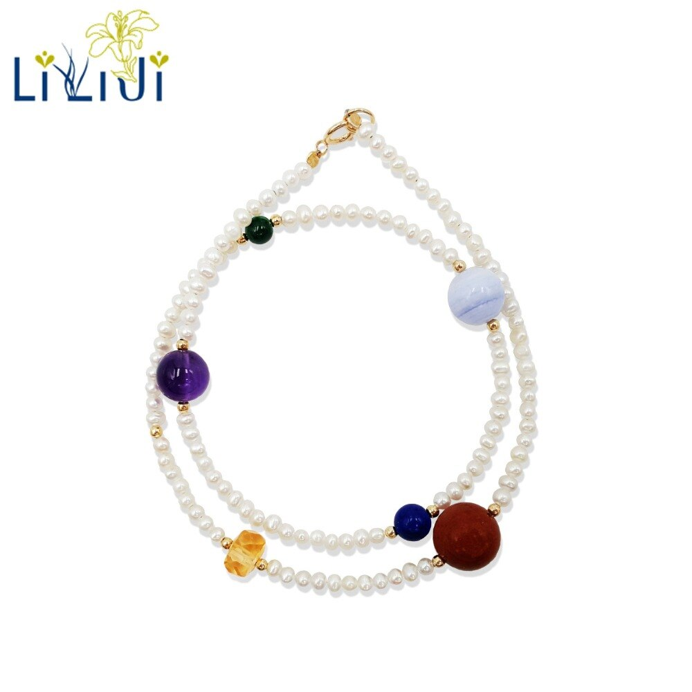 Lii Ji Natural Multi gema, pequeña perla Real 2 filas 925 plata esterlina 18K oro plateado amistad delicada pulsera de Chakra