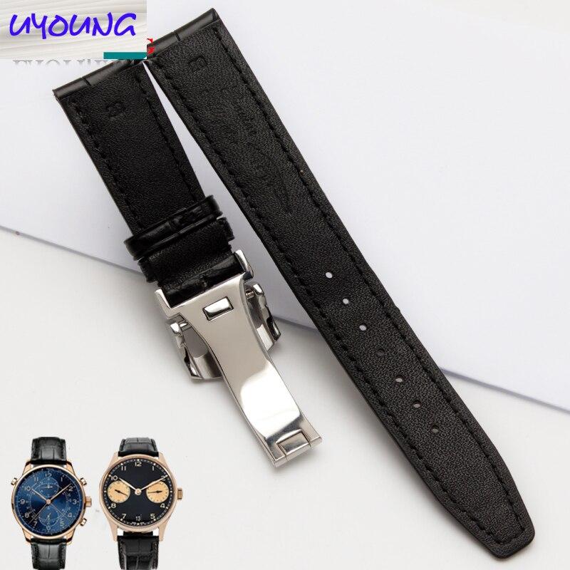 Uyoung watchband  Alligator watchband Adaptation iw371446 20 mm + natural crocodile skin free tools enlarge