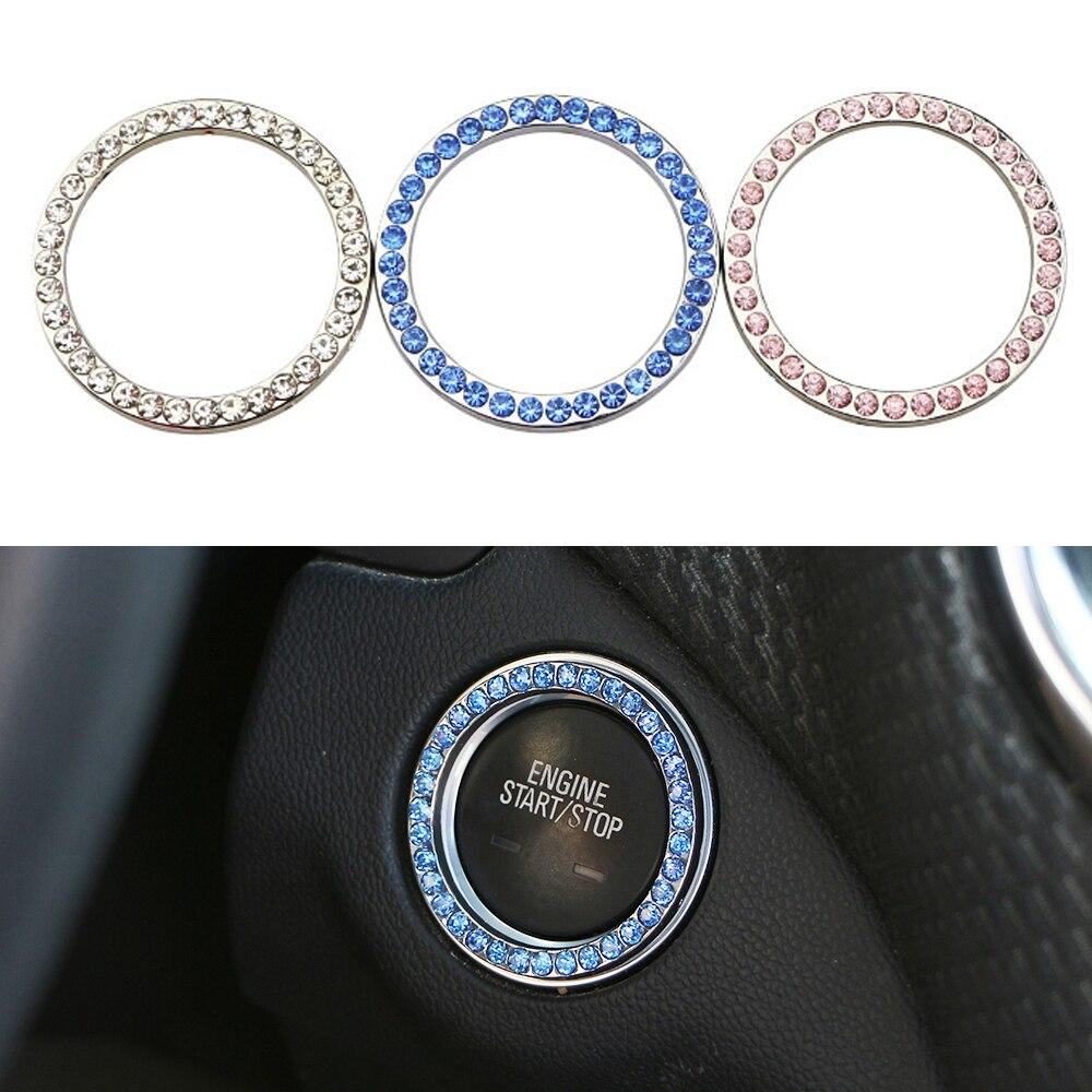 Zlord de cristal del anillo de botón de arranque anillos para Toyota Camry C-HR Corolla RAV4 Yaris Highlander MITSUBISHI Outlander Pajero