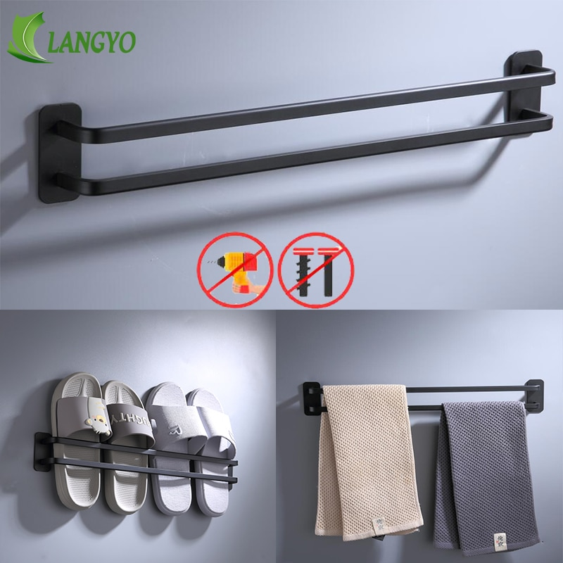 Aluminium Wand-Mount-Display Regale Schuh Halter Rack Klebstoff Lagerung Hausschuhe Platzsparende Bad Doppel Pole Handtuch Rack