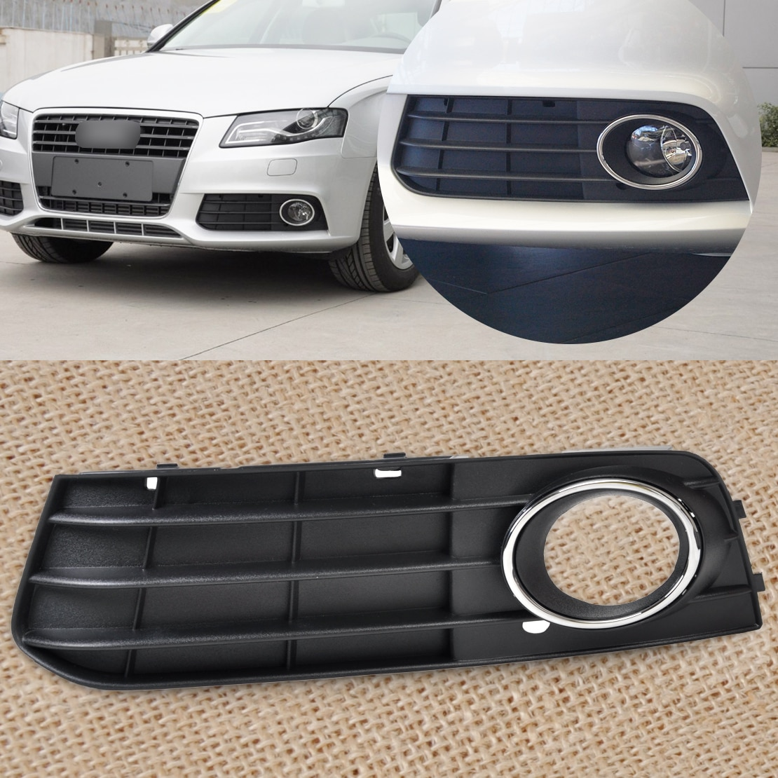 DWCX New Black Left Fog Light Lamp Cover Grille 8K0 807 681 A 01C 8K0807681A 01C 1pc for Audi A4 B8 2008 2009 2010 2011 2012
