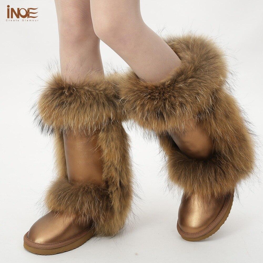 Couro de Carneiro Forrado de Peles Botas de Neve para as Mulheres Sapatos de Inverno com Pele de Raposa à Prova Água de Alta Inoe Real Natureza Qualidade lã d'