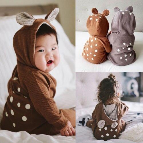Купить с кэшбэком Infant Baby Boy Girls Kids Deer Long Sleeves Romper Jumpsuit Clothes Outfits Costume