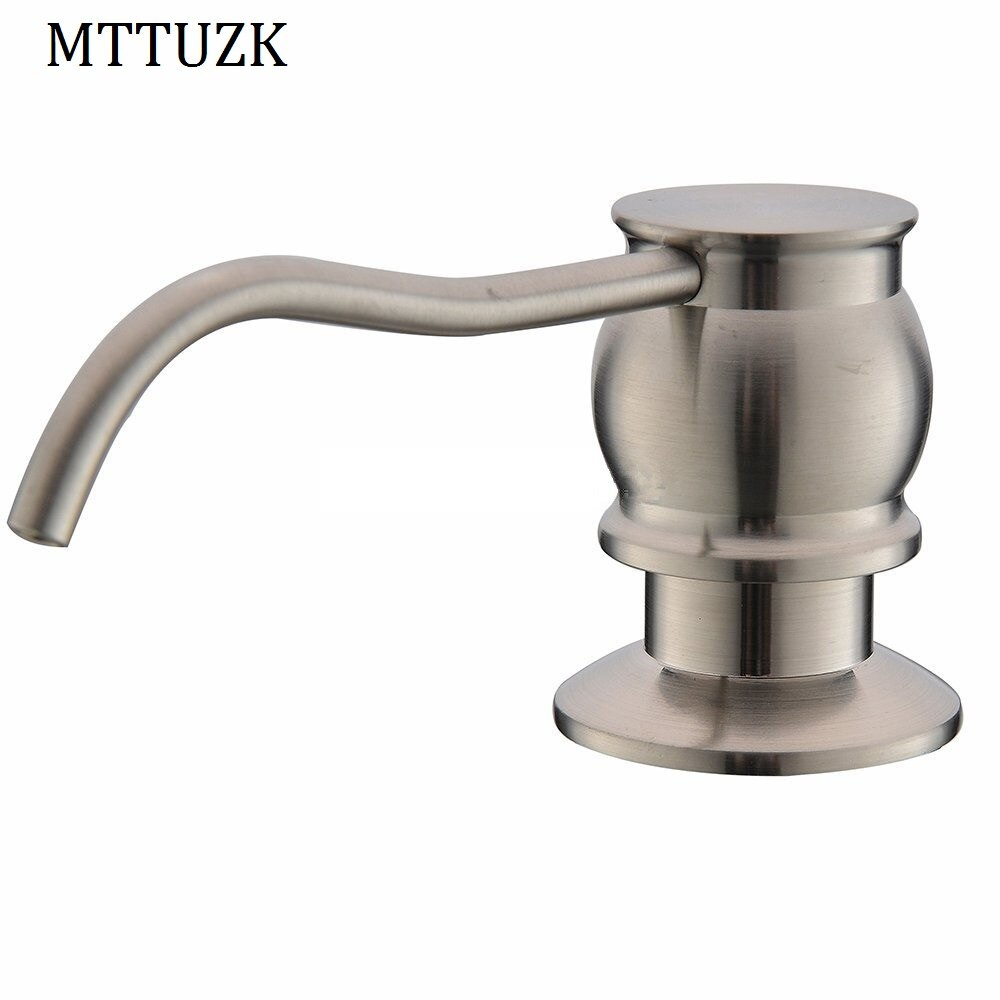 MTTUZK High Quality Solid Brass Brushed Nickel Kitchen Sink Soap Dispenser Plastic Bottle  Liquid Soap Dispensers