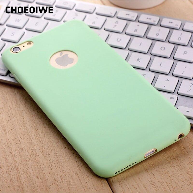 CHOEOIWE i6 6S ультра тонкий мягкий силиконовый чехол для iPhone 6 6s Plus 6sPlus милые яркие Мятные розовые цвета Чехлы для задней панели