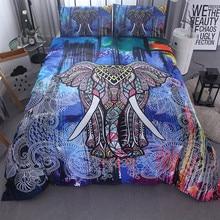 Fanaijia India Elephant  Print Duvet Cover set with pillowcase 3pcs Bedding Set Bohemian Design US Queen King Bed bedline