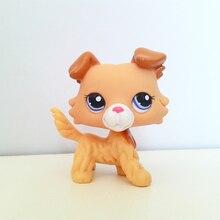 Véritable animalerie mignon jouets chien #2452 jaune collie yeux bleus enfant animal jouets cadeau sans aimant