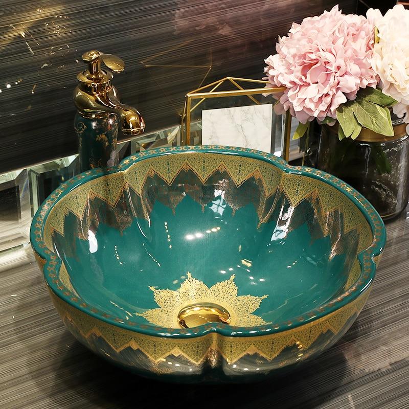 Cuenco de lavabo de cerámica de estilo antiguo de Europa China