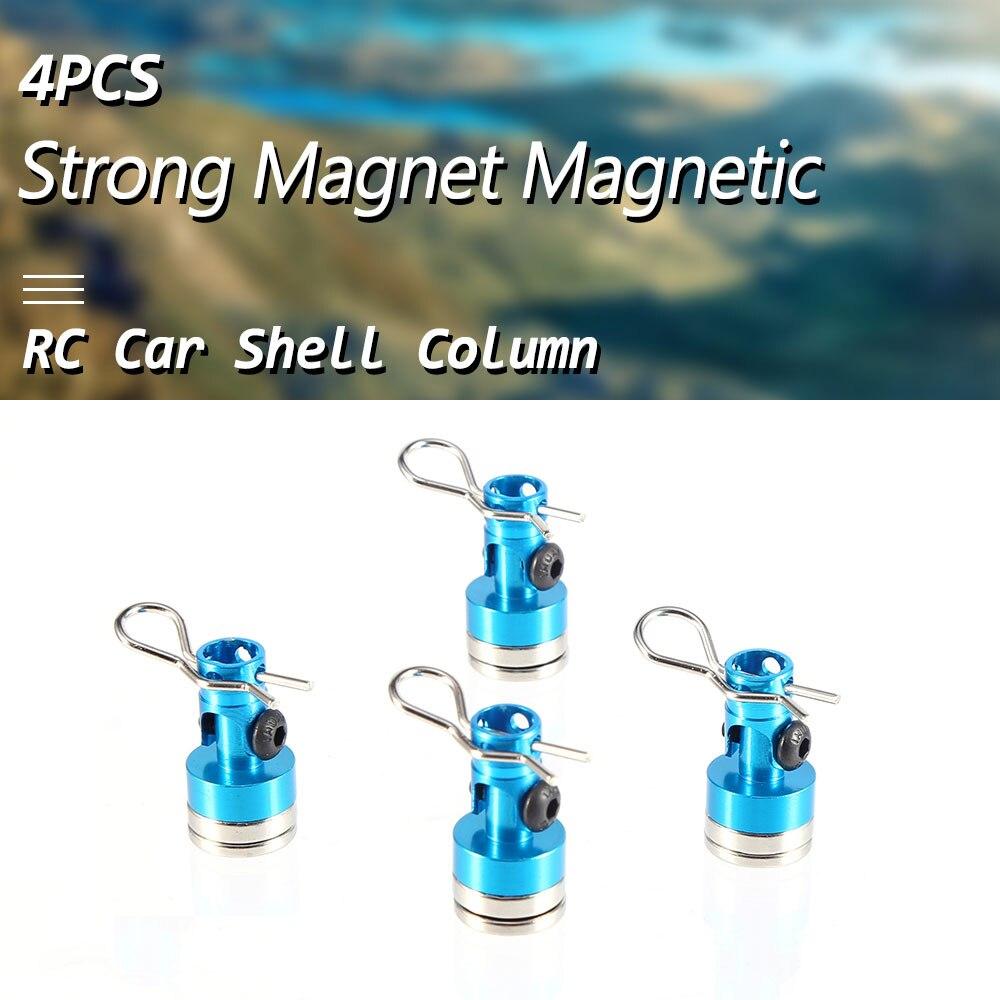 4 Uds Metal fuerte imán magnético Stealth carcasa de coche de control remoto poste de columna para 110 Hsp Invisible soporte del poste del cuerpo Clips azul