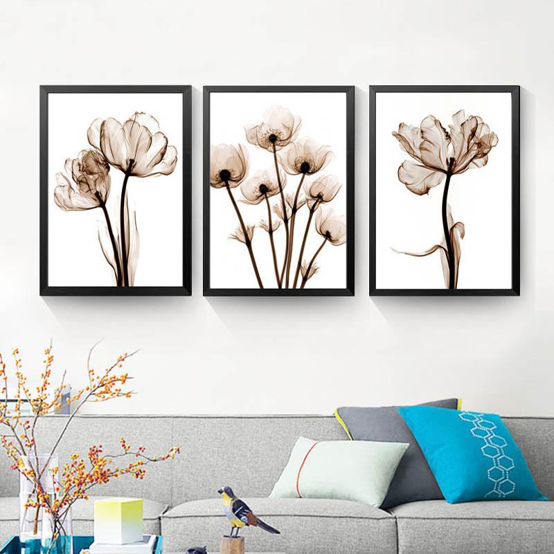 Flores transparentes cuadro sobre lienzo para pared carteles e impresiones arte imagen abstracta cuadros de pared sin marco de póster HD2133
