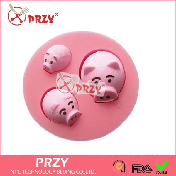 Molde de silicona para cerdo, molde bonito para pastel de cerdo, molde de silicona para Chocolate de calidad alimentaria, moldes de piedra con aromas de goma de silicona PRZY 001