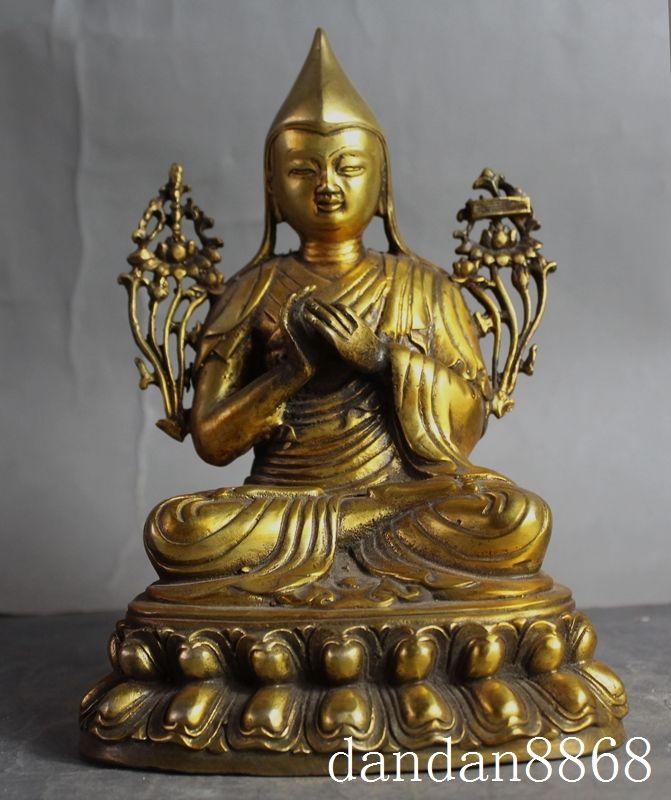 Crafts statue Tibetan Buddhism Bronze gilt Seat Lotus Je Tsongkhapa Tsong-kha-pa Buddha Statue halloween