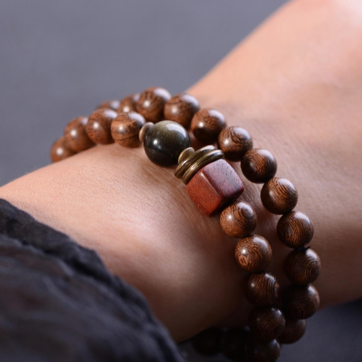 BOEYCJR, Oro Natural, Sándalo, Cuenta de obsidiana, brazaletes y pulseras, joya clásica hecha a mano, pulsera de energía para hombre