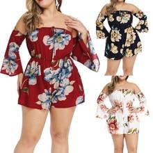jumpsuit bodysuitWomen Floral Printing Off Shoulder Sleeveless Rompers Jumpsuit Playsuit боди для женщин Purchasing 2019