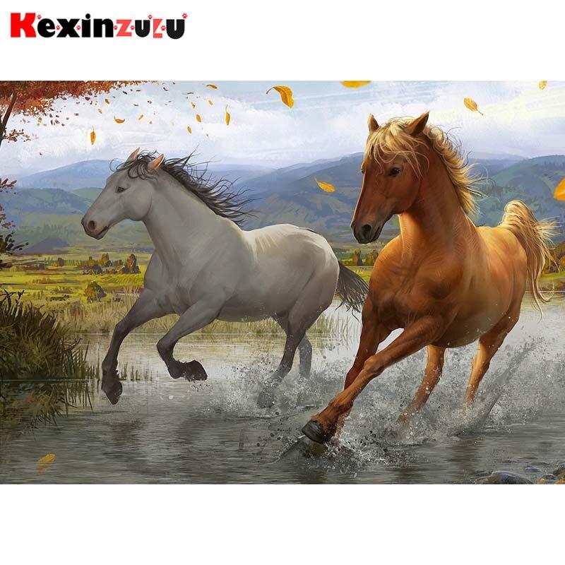Kit de punto de cruz Kexinzu 5d completo DIY cuadrado redondo de diamante pintura Animal caballo bordado 3d mosaico de resina decoración del hogar regalo X106