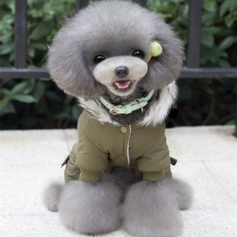 PUPISHE Winter Dog Clothes Luxury Fur Pet Puppy Down Coat Jacket for Small Dogs Cats Doggie Suit with  Windproof Hood
