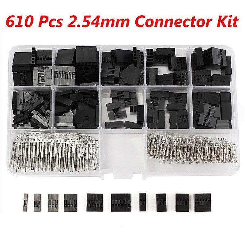 610 unids/set 2.54mm Conector Kit de Coche Batería Jumper Vivienda Cable Conector Para Dupont Terminal Electrónica Con la Caja