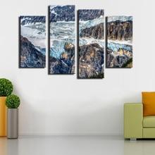Toile de peinture murale de Glacier   4 panneaux, peinture murale de Glacier Canada, décoration de maison, impression sur toile, Art moderne