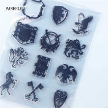 PANFELOU team banderín transparente silicona goma sellos transparentes dibujos animados para álbum de recortes/Álbum de boda de Navidad DIY