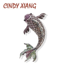 Cindy Xiang Vol Strass Grote Vis Broches Voor Vrouwen Levendige Karper Pinnen Grote Fashion Vintage Dier Accessoires Sieraden 2 Kleur