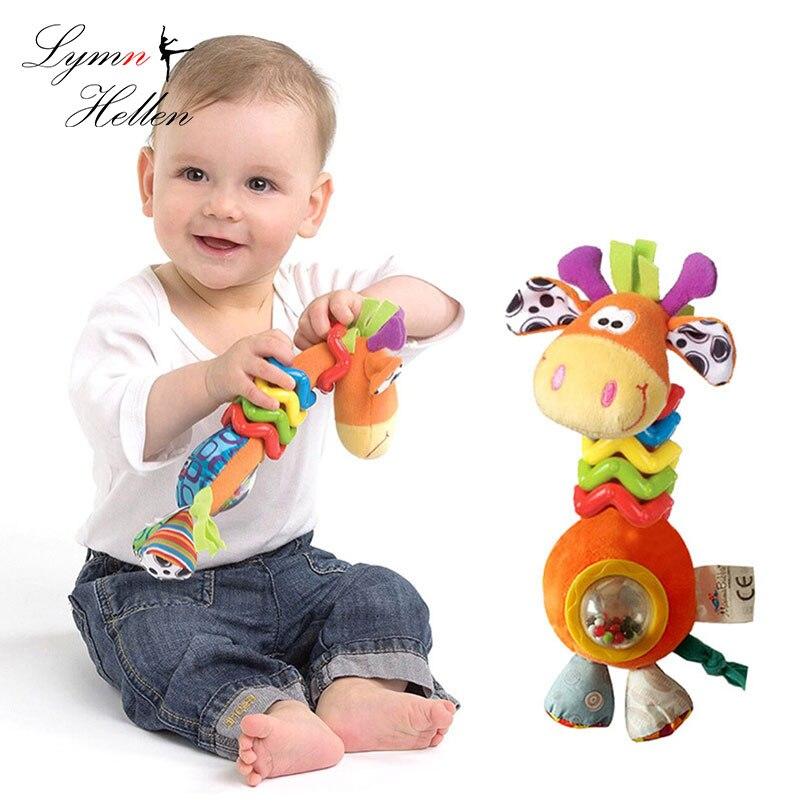 Bebê infantil chocalho animais mão agarrar apaziguar girafa adorável lidar com a volta grânulo tocando brinquedo infantil desenvolvimento