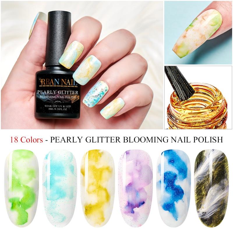 RBAN NAIL 18 Colors Watercolor Ink Varnish Gel Bloom Smoke Color Gel Polish Smudge Bubble Pigment Nail Glue Gel Manicure Set