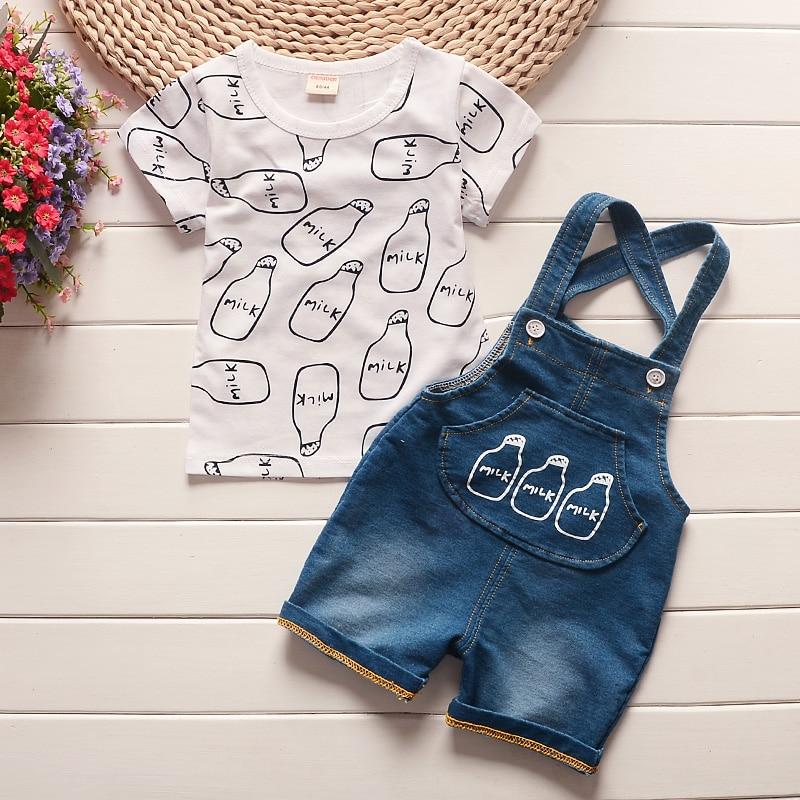 BibiCola Sommer Baby Jungen Kleidung Kinder Jungen Cartoon Tops T-shirt Strap Hosen 2PCS Set Jungen Kleidung für Baby Jungen trainingsanzug