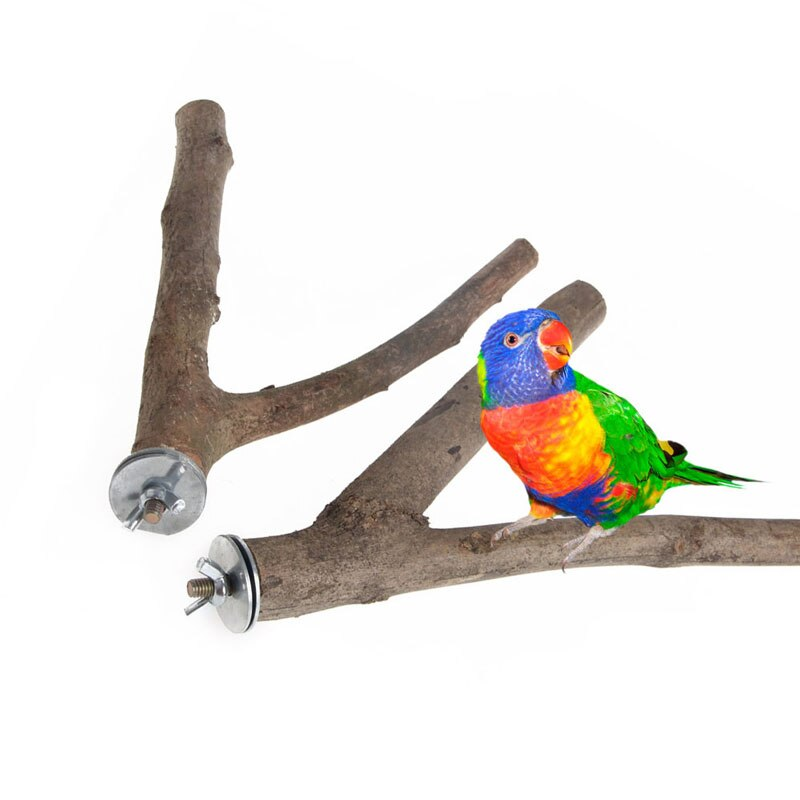 Loro de madera cruda tenedor estante de juguete rama perchas para aves de jaula