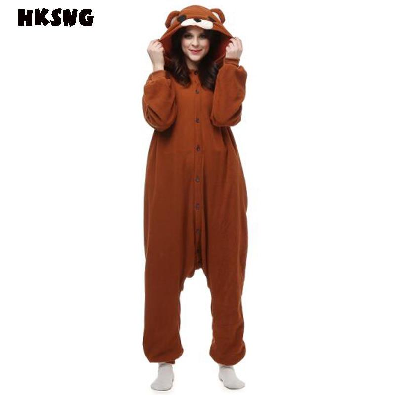 HKSNG nuevo adulto oso de peluche marrón Kigurumi Onesies lindo pijama invierno Animal Navidad Cosplay Pijamas