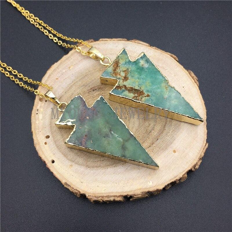 MY0896, flecha verde, collar de Chrysoprase con cadena de Color dorado kolye