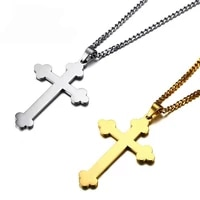 male budded cross pendant necklace silver gold color stainless steel punk church men jewelry buds cross pendant for women men