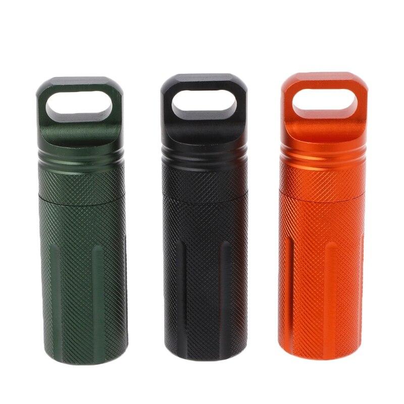 Portable útil impermeable caja metálica para pastillas caja portabotellas medicina pastilleros divisores 1Pc Naranja, Negro, Verde