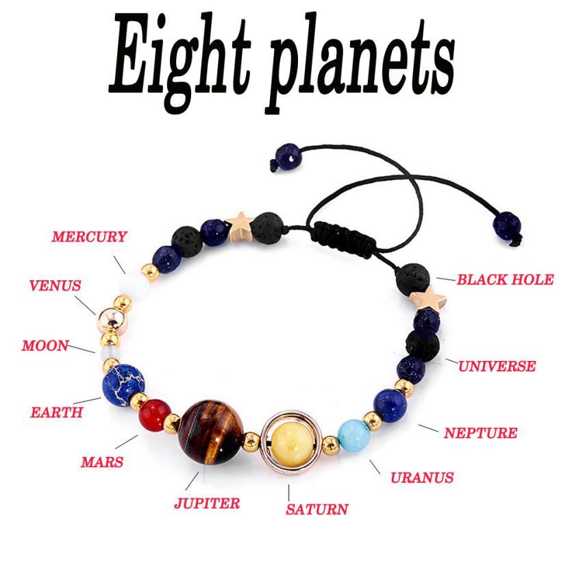 Sistema Solar ocho planetaria brazaletes con piedras naturales de joya pulsera para regalos delicado bonitos accesorios mujeres pulseras