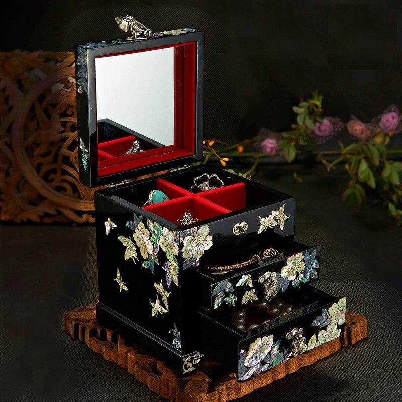 صندوق تخزين يدوي أذن البحر شل-لينيليد Lacquerware 12x12x14 سنتيمتر هدية الزفاف cajas دي almacالمينا