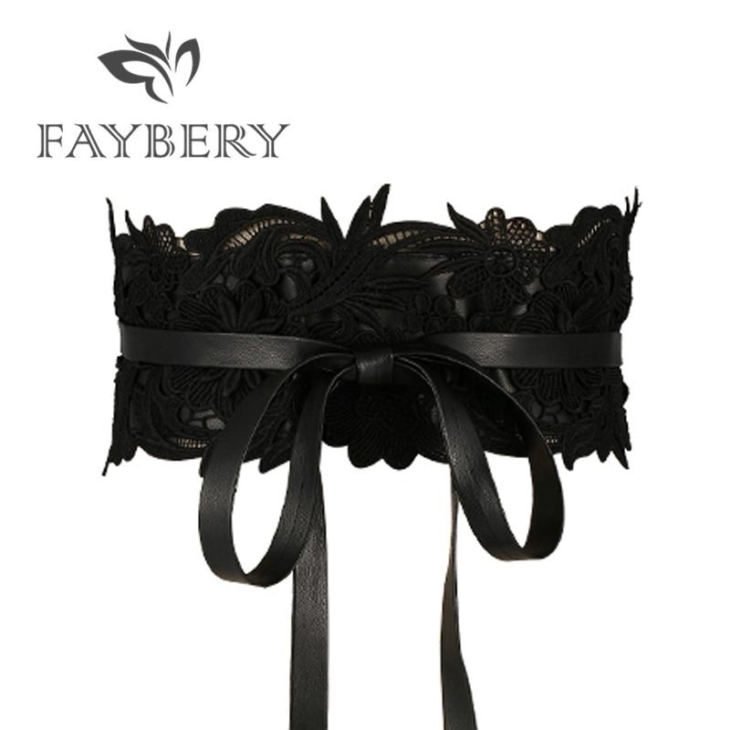 Cinturones de encaje negro de moda para mujer, cinturones de diseñador de marca de lujo para mujer, cinturones de cintura femenina ancha para vestido de boda, fajas