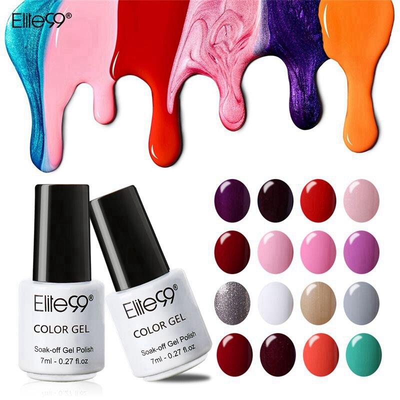 Elite99 7 мл чистый цвет Лак Полупостоянный великолепный лак-эмаль для ногтей замочить от УФ светодиодный светильник лечение лак База Топ ногте...